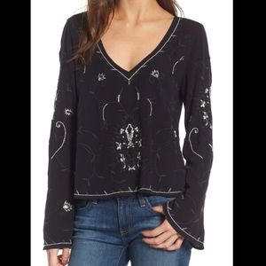 {Hinge} long sleeve embroidered top